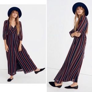 MADEWELL Wrap Around Maxi Stripe Dress $180